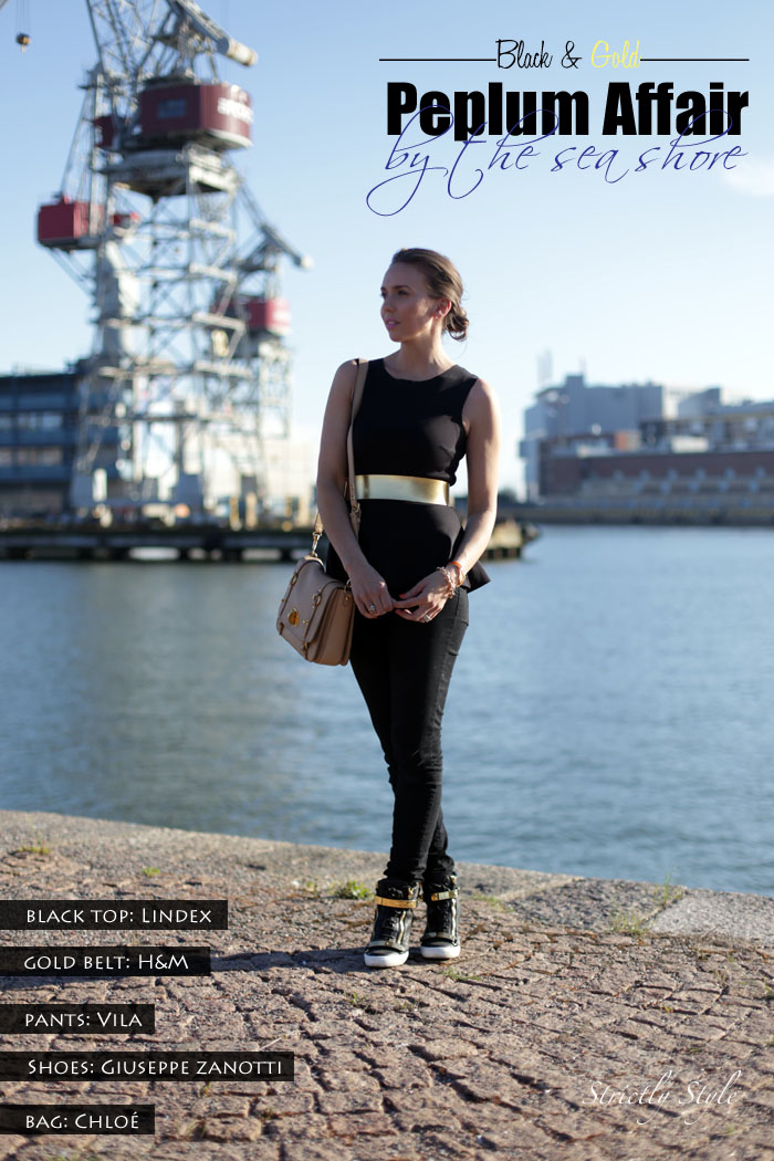 black and gold outfit peplum title