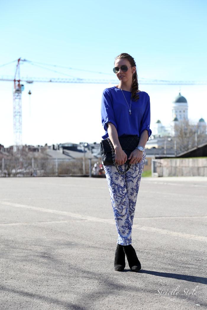 uspeskin katedreaali blue white printed pantsIMG_0512