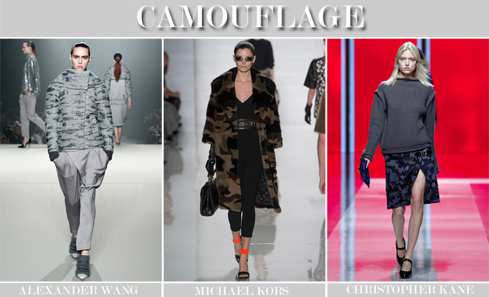 camouflage print trend runway collage
