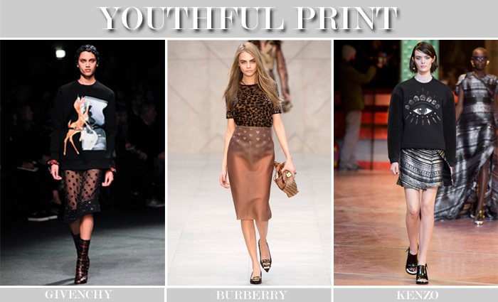 youthful print trend runway collage