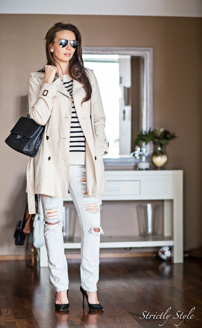 classic outfit trench with striped sweater (1 of 9)