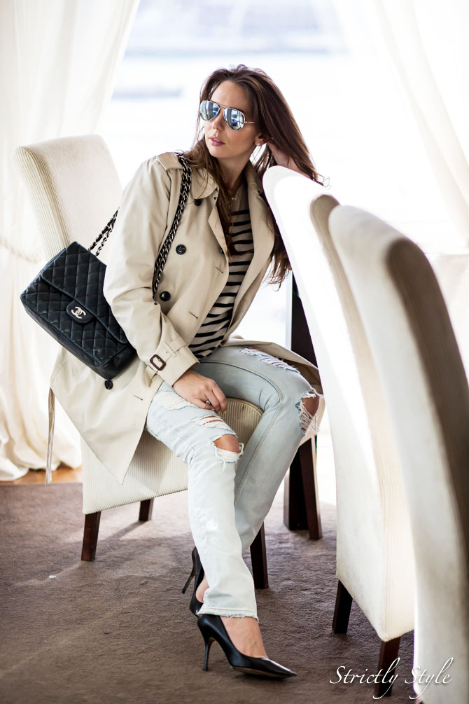 classic outfit trench with striped sweater (6 of 9)
