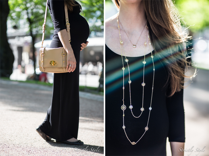 maternity black and gold collage