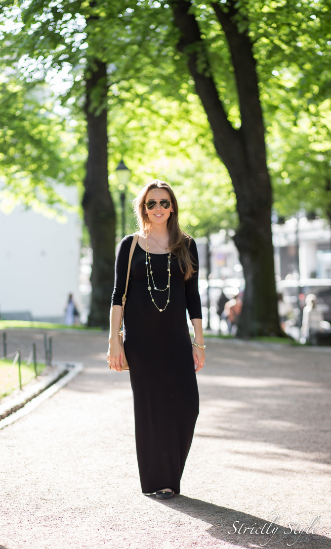 maternity style black maxi dress with gold-1471