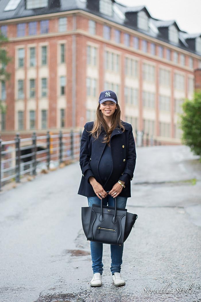 maternity style navy ny cap slip on sneakers-seisoo
