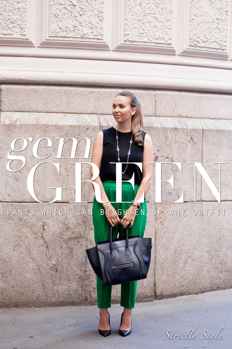 black and gem green pants-