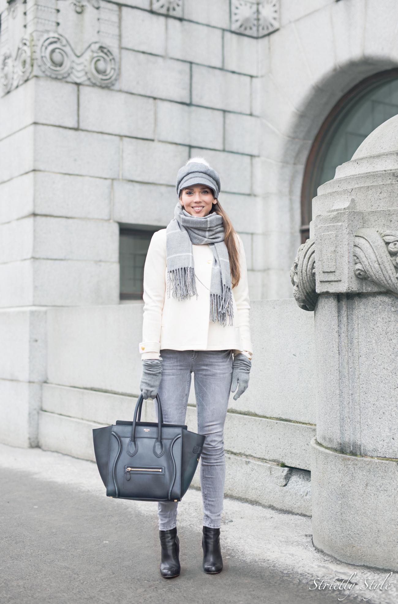 harmaa asu valkoinen takki bronda-9892