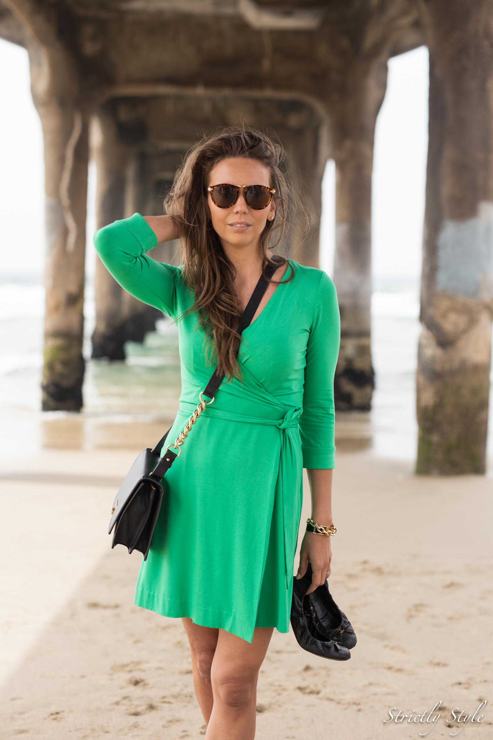 emerald green dvf dress manhattan pier-9543