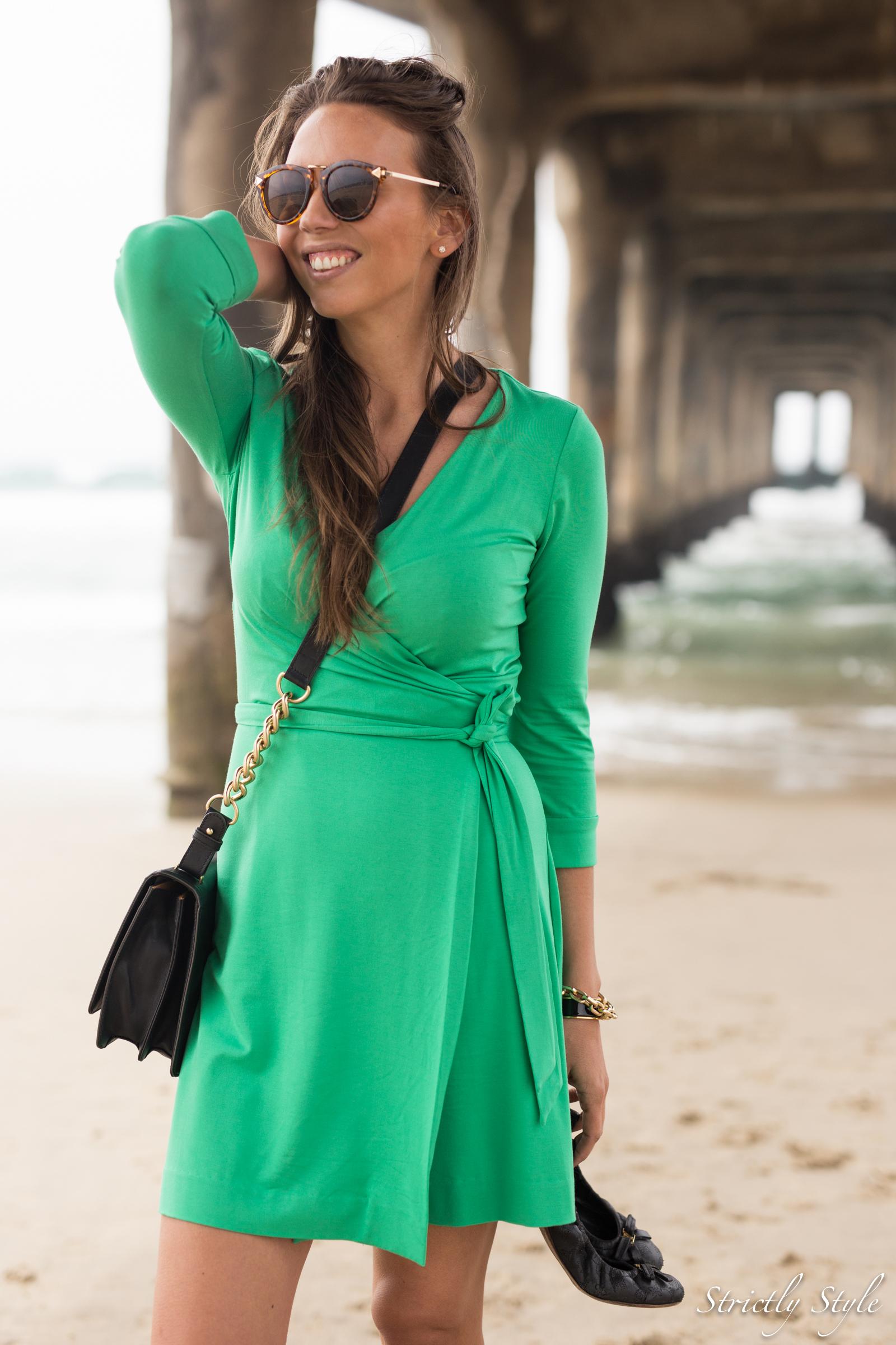 emerald green dvf dress manhattan pier-9549