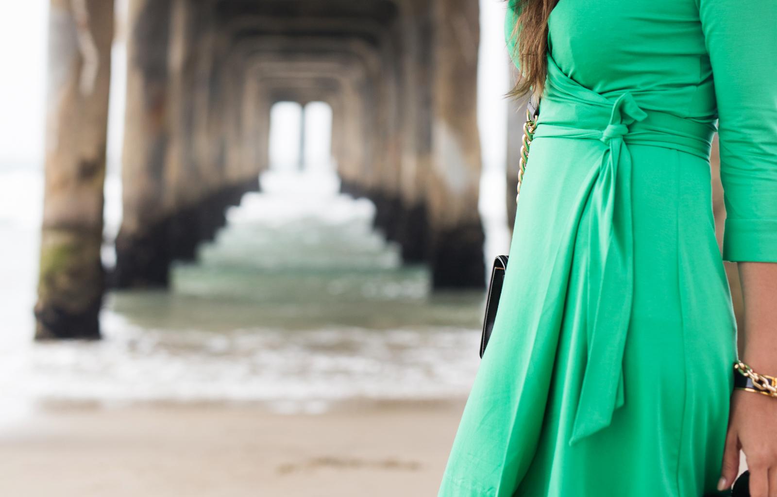emerald green dvf dress manhattan pier-9551