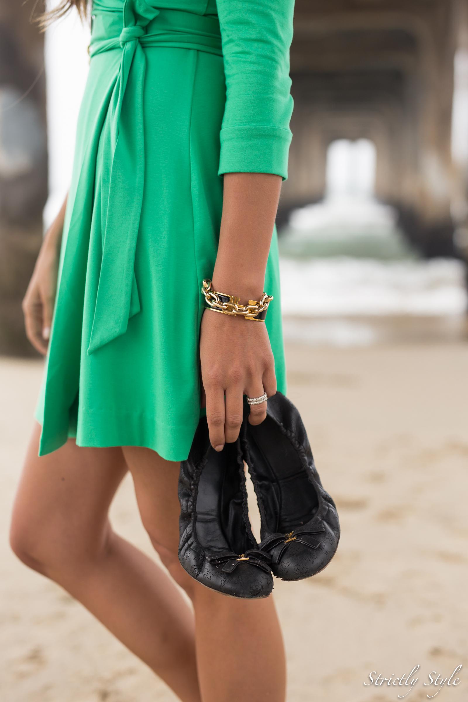 emerald green dvf dress manhattan pier-9556