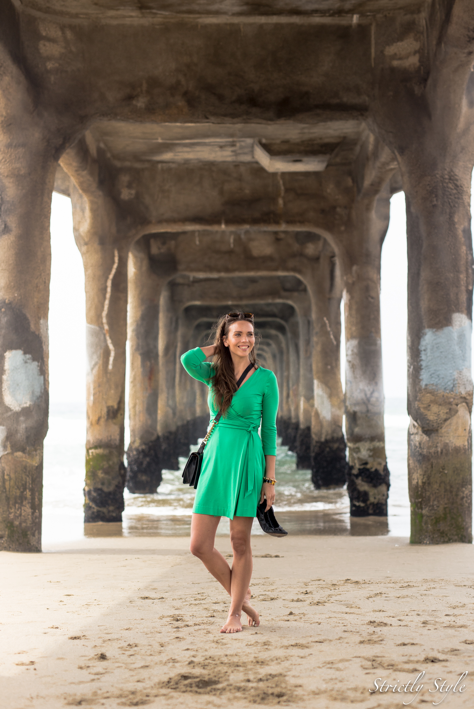 emerald green dvf dress manhattan pier-9521